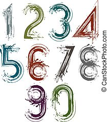 Handwritten vector numbers isolated on white background,...