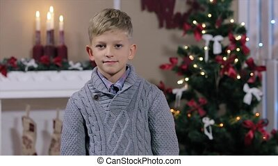 Happy expressive caucasian boy showing in the camera the thumbs up sign at Christmas background, smiling, white Room with Fireplace and Christmas Tree, Medium