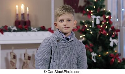 Happy expressive caucasian boy showing in the camera the thumbs up sign at Christmas studio, smiling, white Room with Fireplace and Christmas Tree, Medium