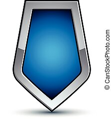 Heraldic vector blue emblem with silver outline, 3d...