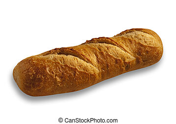 Bread, isolated - isolated french bread on white with shadow...