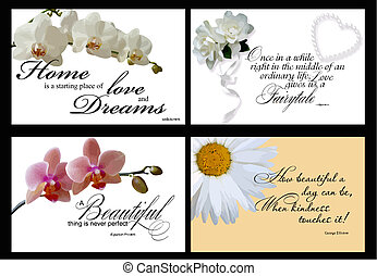 4 inspirational card vectors - set of 4 inspirational quotes...