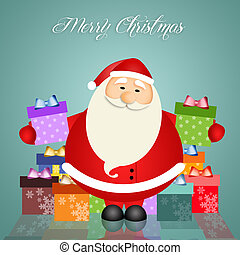 Illustration of Santa Claus with gifts for Christmas