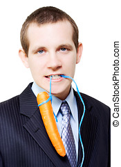 White background business person dangling a carrot -...