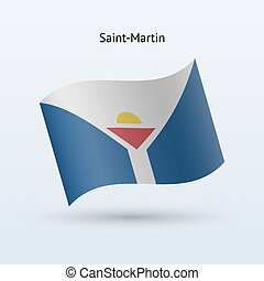 Saint-Martin flag waving form - Saint-Martin flag waving...