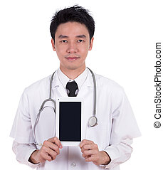 doctor showing tablet computer blank screen isolated on...