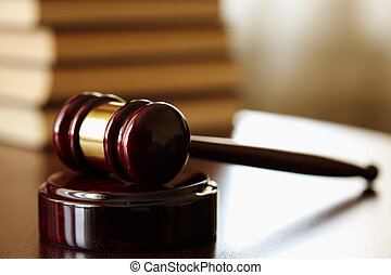 gavel - juridical concept with hammer and lawbooks,...