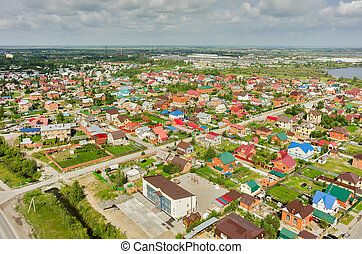 Aerial view of houses on housing estates Tyumen - Tyumen,...
