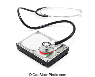 Data recovery stethoscope and hard drive disc - Depiction of...