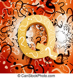 Question mark symbols depicting puzzle solving - Colorful...