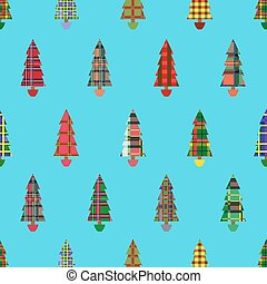 Christmas tree seamless pattern over cyan - Christmas tree...