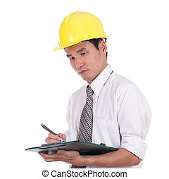 engineer writting with clipboard isolated on white...