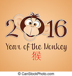 Year of the monkey - illustration of Year of the monkey