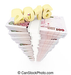 2016 and Saudi Riyal stack - Saudi Riyal stack with 2016...