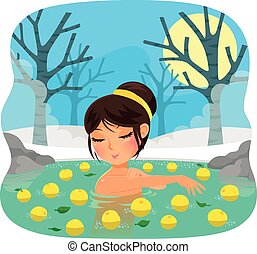 yuzu bath - girl taking a bath with yuzu fruit tradition...