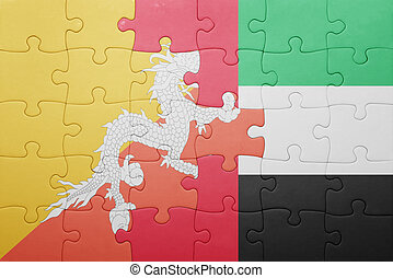 puzzle with the national flag of united arab emirates and bhutan