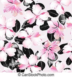 Tropical hibiscus flowers with black leaves seamless pattern...