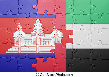 puzzle with the national flag of united arab emirates and cambodia