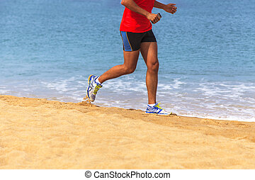 Running man on the beach
