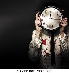 Dead Business Person Holding End Of Time Clock