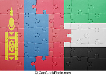puzzle with the national flag of united arab emirates and mongolia