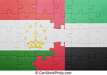 puzzle with the national flag of united arab emirates and tajikistan