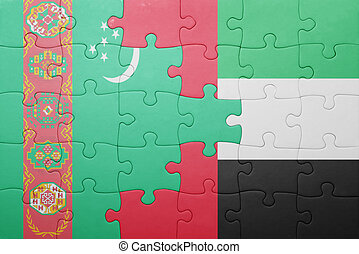 puzzle with the national flag of united arab emirates and turkmenistan