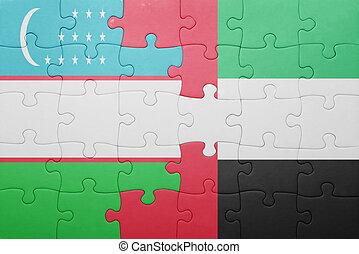 puzzle with the national flag of united arab emirates and uzbekistan