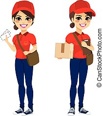 Postwoman Delivering Mail Parcel - Full body young post...