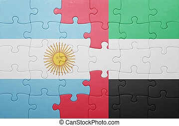 puzzle with the national flag of united arab emirates and argentina