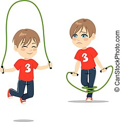 Boy Jumping Rope - Two action boy learning jumping rope...