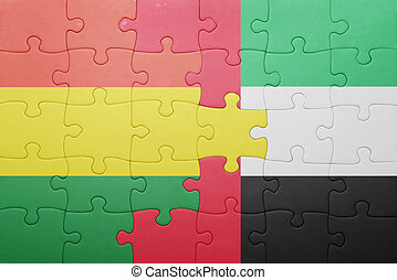 puzzle with the national flag of united arab emirates and bolivia