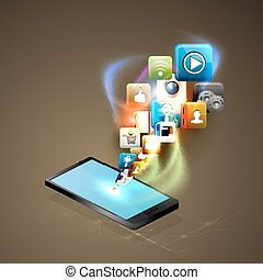Illustration social networking. Telephone and media.