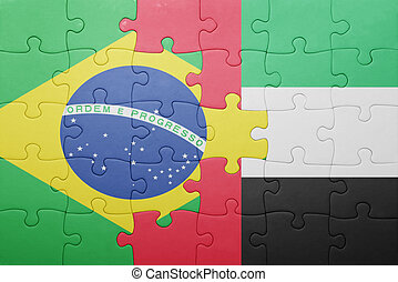 puzzle with the national flag of united arab emirates and brazil