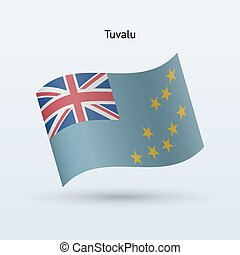 Tuvalu flag waving form. Vector illustration. - Tuvalu flag...