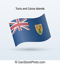 Turks and Caicos Islands flag waving form. - Turks and...
