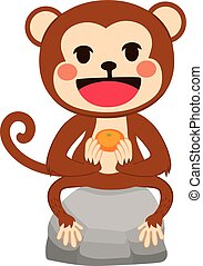 Monkey With Mandarin - Illustration of funny monkey sitting...