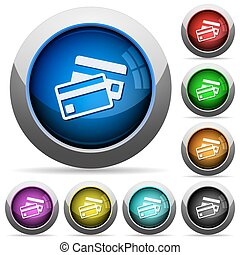 Bank card button set - Set of round glossy bank card buttons...