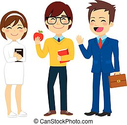Young Worker People - Illustration of three young worker...