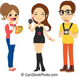 Young Artist People - Illustration of three young artist...
