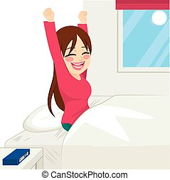 Woman Waking Up Happy - Beautiful brunette woman happy...