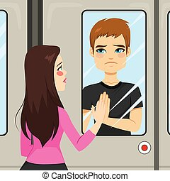 Lovers Train Scene - Illustration scene of two young lovers...