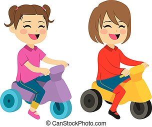 Girls With Tricycle - Two cute happy girls with tricycle...