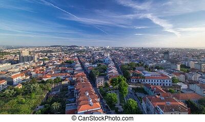 Rooftops of Porto's old town on a warm spring day timelapse...