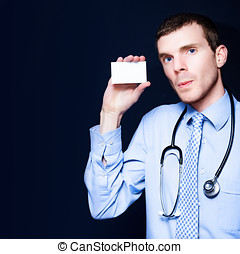 General Practitioner Doctor Holding Business Card
