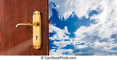 Open door to future - Open door against blue sky;...