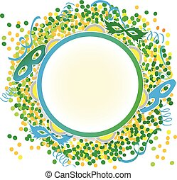 Carnival green yellow - Tambourine on confetti and masks...
