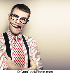 Funny Retro Male Nerd With Big Mouth On Copyspace - Smart...