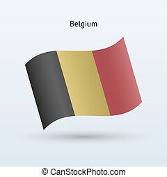 Belgium flag waving form. Vector illustration.
