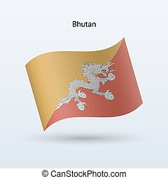 Bhutan flag waving form on gray background Vector...